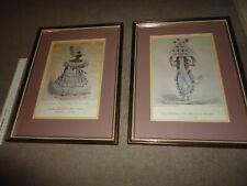 MATCHING PAIR OF VINTAGE KINGSTON JAMAICAN FRAMED PRINTS 1837 SET-GIRLS JAW BONE