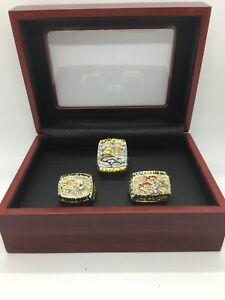 3 Pcs Denver Broncos Super Bowl Championship Ring Set with Wooden Display Box