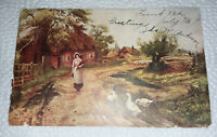 Vintage 1907 Farmer's Daughter Postcard, Stamped Funk, Nebraska