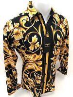 Mens PREMIERE Long Sleeve Button Down Dress Shirt BLACK GOLD PAISLEY 633 NWT HOT