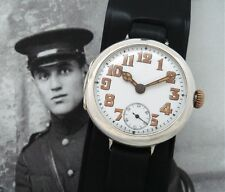 Men's Post WWI Sterling Silver Rolex Trench Watch w/Cordovan Strap - SERVICED