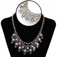 Punk Style Jewelry Statement Bib Chunky Gothic Skull Necklace Pendant
