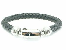 Mens Bracelet Bangle Cuff Braided Stainless Steel Black Leather Men's Unisex