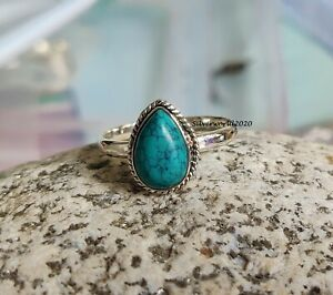 Turquoise Band Ring 925 Sterling Silver Plated Handmade Ring Size 12.25 k122
