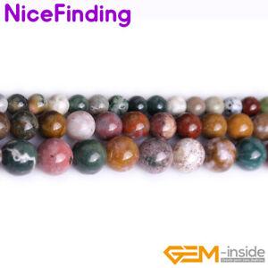"Ocean Agate Jasper Multi Color Gemstone Round Jewelry Making Beads 15"" Natural"