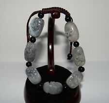 """0.8"""" China Certified Nature Nephrite Hetian Jade Ghost Head Amulets Bracelets"""