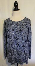 BLUE ILLUSION ~ L Large Blue Tones Floral Leaves Print Stretch Viscose Tunic Top