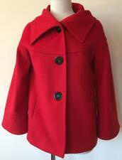 Made in Spain ZARA Woman RED 100% WOOL Jacket Coat M 8 10 Lined Extra Button