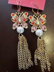 $52  Betsey Johnson multi tone crystal mermaid mismatch earrings JB 207