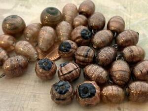 Vintage Metallic Copper Lampwork Glass Beads Mix India 30