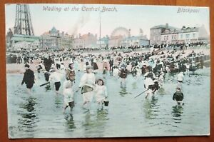 WADING AT THE CENTRAL BEACH BLACKPOOL VINTAGE POSTCARD