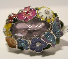 Double Finger Ring Rhinestone Crystal Butterfly Lady Bug Sizes 7 8  NWT L187-92
