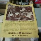 1947 General Electric Making Television Tubes Original Advertising Poster 14x17 photo