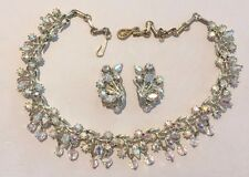 VINTAGE CORO NECKLACE AND EARRING SET - AURORA CRYSTALS