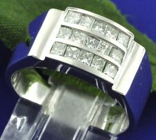 14k Solid White Gold Mens men's Princess Cut Diamond Ring Channel 1.00 ct 3 rows