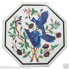 "Size 18""x18"" White Marble Coffee Table Top Birds Inlay Handmade Home Decor Gifts"