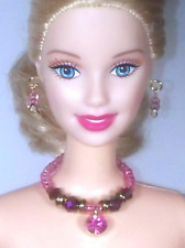 Barbie Dreamz ROSE PINK & RASPBERRY Crystal Bead Choker SET Doll Jewelry