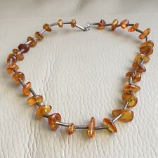 Vintage Retro Art Deco 1920s Honey Amber 925 Silver Wired Necklace 16in