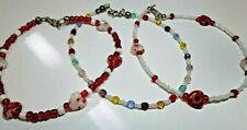 ALL THREE FOR $7.50 FREE SHIPPING/BEADED ANKLETS IN RED AND WHITE
