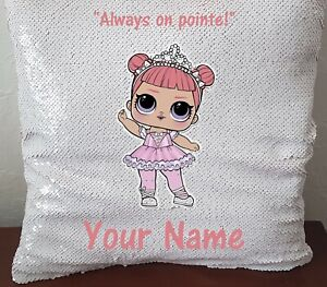 Personalised LOL Centre Stage Sequin Magic Cushion 40cm x 40cm with/out inner