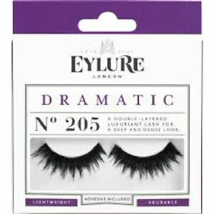 Eylure Lashes Dramatic N205 - False Eyelashes Long Bold Volume Black Thick