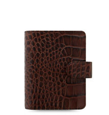 Filofax Classic Croc Pocket Size Organizer Chestnut Leather 026014 - 2018 Diary