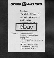 OZARK AIR LINES 1977 FOR SALE FLEET OF FAIRCHILD FH-227 B AT ST LOUIS AD