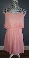 Flying Tomato Pink Rayon Dress Spaghetti Straps Floral Knit Womens Size S