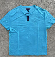 New w Tags Authentic Vilebrequin  100% LINEN T-Shirt - BLUE - 2XL- MEN - XXL