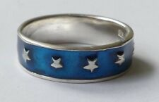 Ring Bandring 925 Silber blaue Emaille Sterne Vintage 90er ring silver