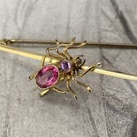 Vintage Gold Gilt and Pink Paste Ruby Spider Brooch, Antique Victorian Style Pin