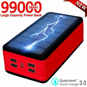 2021 Super 99000mAh USB Portable Charger Solar Power Bank For Cell Phone