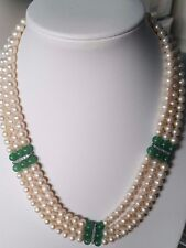 Beautiful fresh water pearl necklace 3 rows with green aventurine