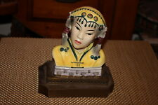 Antique Chinese Asian Hand Painted Woman Statue Figural Lamp Base