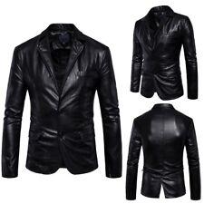 2018 Men Genuine Lambskin Real Leather Blazer Jacket Two Button Slim Fit Coat XI