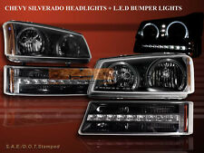 CHEVY SILVERADO/AVALANCHE 03-06 TWIN HALO LED HEADLIGHTS + LED BLK BUMPER LIGHTS