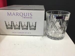 NEW WATERFORD MARQUIS LACEY TUMBLER CRYSTAL SET X4 GLASSES