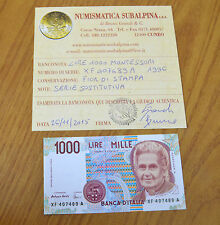 LIRE 1000 MONTESSORI 1996 certificata FDS SERIE XF SOSTITUTIVA RARA SUBALPINA