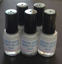 5 x 5ml GLITTER TATTOO BODY GLUE & BRUSH PROS AIDE LIPS/GEMS/COSMETIC ADHESIVE