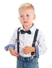 Suspenders Bowtie Set Solid Unisex Child Family Adjustable Elastic Braces