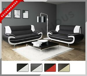 NEW PALERMO 3+2 SOFA SET Suite Armchair Modern Faux Leather Grey Black Brown