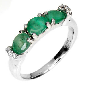 Unheated Oval Emerald 5x4mm Cz 14K White Gold Plate 925 Sterling Silver Ring 6