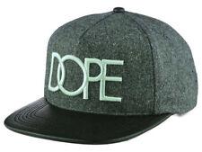 Dope Gray & Black Wool Faux Leather Snapback Flat Bill Hat Cap NWT Osfm
