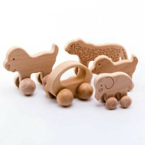 1pc Organic Beech Wooden Car For Babies BPA Free Montessori Toys Wooden Rattle