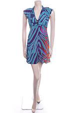 New Ladies Carbon Size 14 Bold Green & Blue Swirl Pretty Floaty Summer Dress