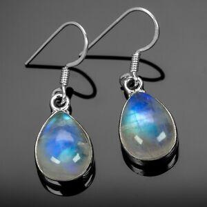 Moonstone 925 Sterling Silver Dangle Earrings Pear Gemstone Ladies Jewellery