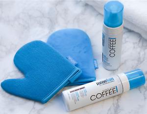 1 Hr gradual self Tan by MineTan Coffee Coconut Water SelfTan Foam Mitt face mis