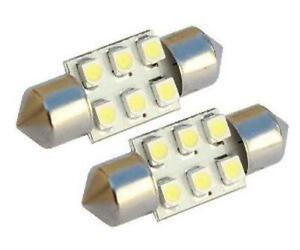 2 x 12V White 6 SMD LED Car Interior Festoon Dome Light Bulbs 31mm DE3175 DE3021