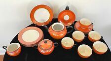 22 Piece Set of P.A.L.T. Czecho-Slovakia Lustreware, Orange & White, Black Trim