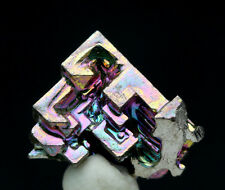 Iridescent Bismuth Rainbow Hopper Crystal Cluster Mineral Specimen w/ ID card